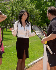 Horny tennis trainer screwing his two cute student chicks